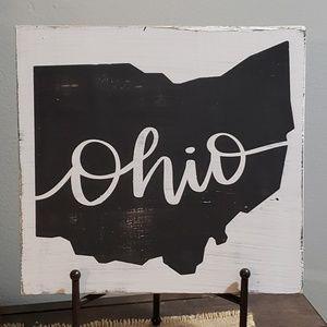 """NEW Handmade """"State of OHIO"""" Black & White Sign"""